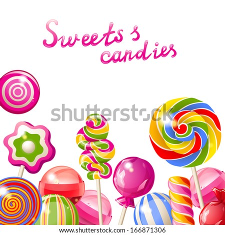 Background with bright colorful lollipops - stock vector