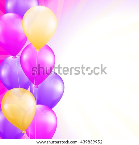 background with bright pink and yellow balloons as a border. vector