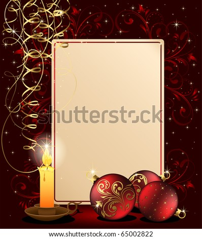 Background with candle, Christmas balls and stars, illustration