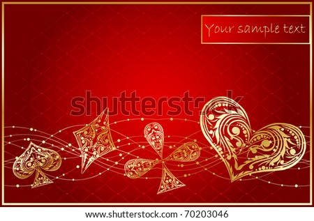 background with card suits - stock vector