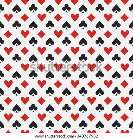 Background with card suits - vector seamless casino or poker pattern