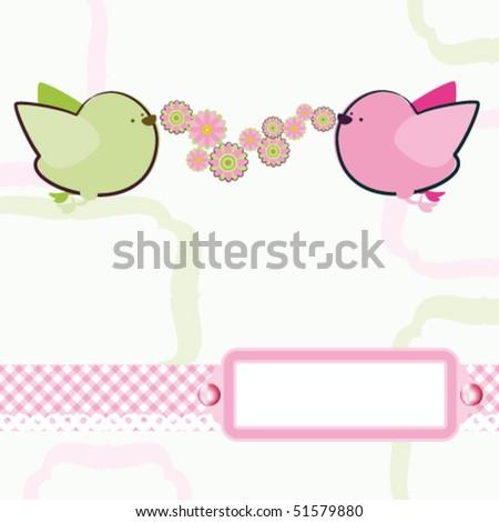 Background with cartoon birds. Vector. - stock vector