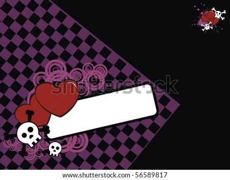 background with cartoon heart and skull in vector format