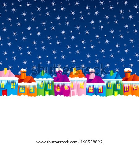 background with cartoon village houses in winter in the snow and Christmas theme, xmas - stock vector