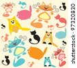 background with cats - stock vector