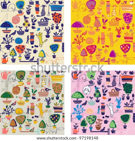 background with cats and garden objects - stock vector