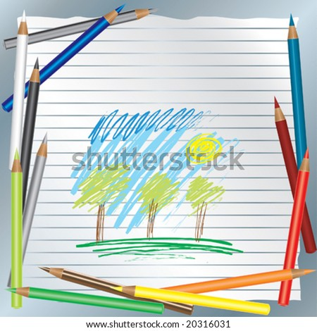 background with child's drawing - stock vector