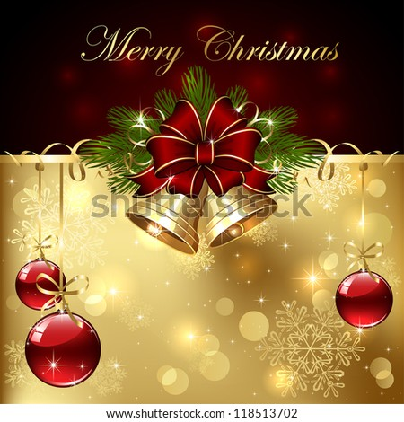 Background with Christmas baubles, bells, bow and tinsel, illustration. - stock vector