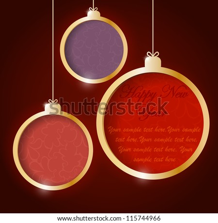 Background with christmas decoration (balls) with place for text on it - stock vector
