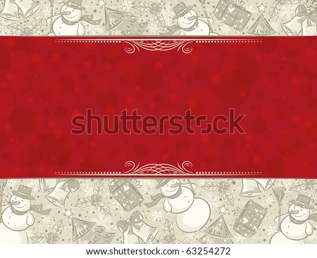 background with christmas elements and label for message,  vector illustration - stock vector