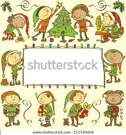 Background with Christmas elves - stock vector