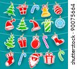 Background with Christmas icons - stock vector
