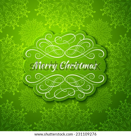 Background with Christmas Label. Greeting Card.  - stock vector