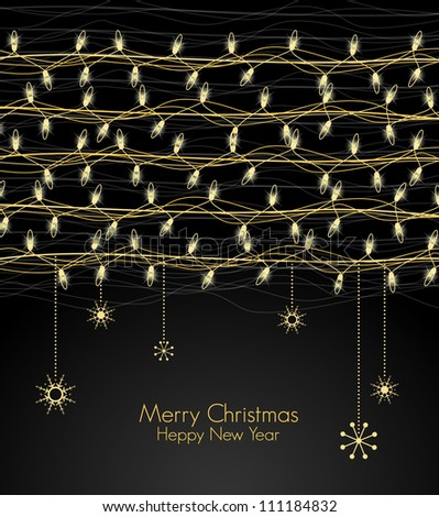 Background with Christmas lights for the new year - stock vector