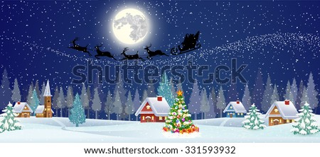 background  with christmas tree and gift boxes,  moon and the silhouette of Santa Claus flying on sleigh pulled by reindeer over night village. concept for greeting or postal card, vector illustration - stock vector