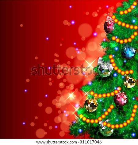 Background with Christmas tree, bows and garland - stock vector