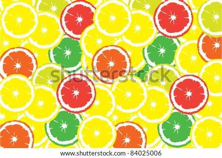 Background with citrus slices of limes, lemons, oranges and grapefruits - stock vector