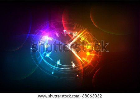 "background with clock ""made of light"" collection - stock vector"