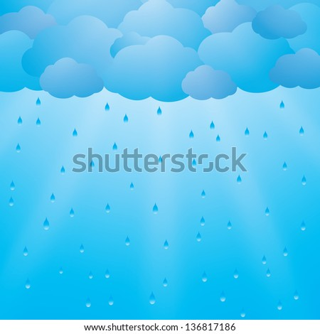 Background with clouds and rain - stock vector
