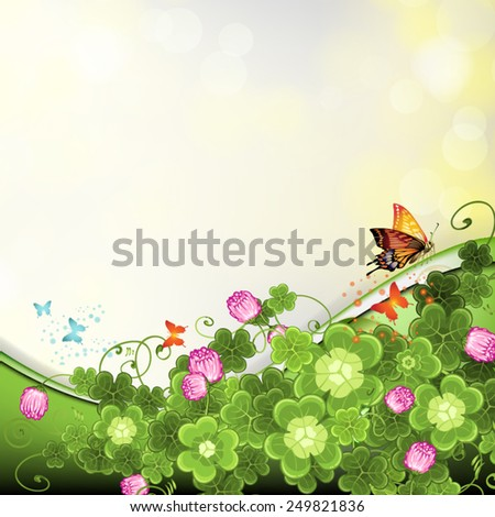 Background with clover and butterflies - stock vector