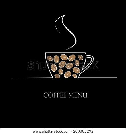 Background with coffee cup, vector illustration - stock vector