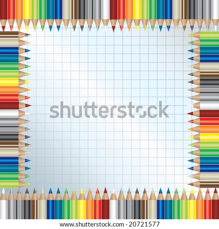 background with color pencils frame - stock vector