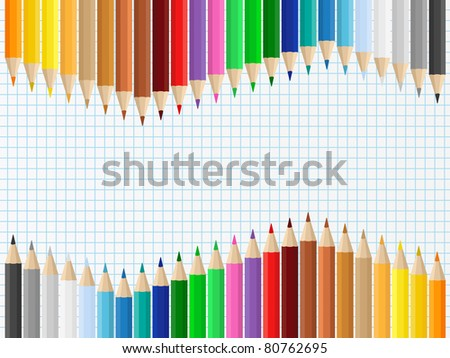 Background with colored pencils on squared paper - stock vector