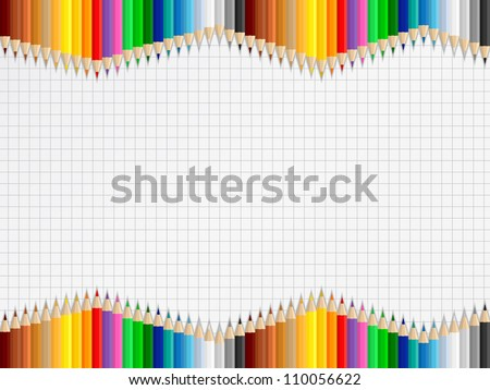 Background with colored pencils on squared paper, vector eps10 illustration - stock vector