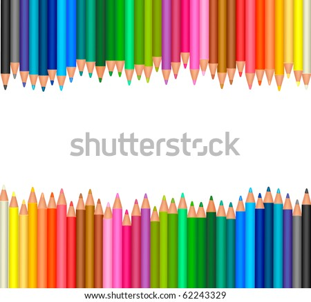 background with colored pencils. Vector - stock vector