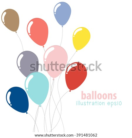 Background with colorful balloons, Party balloons with space for text, Flat color