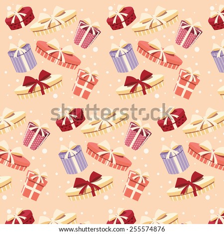 Background with colorful gift boxes with bows and ribbons in different shapes, seamless pattern, vector illustration - stock vector