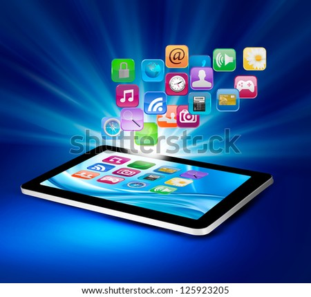 Background with colorful icons in a tablet. Vector illustration.