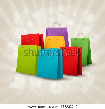 Background with colorful shopping bags. Discount concept. Vector illustration.
