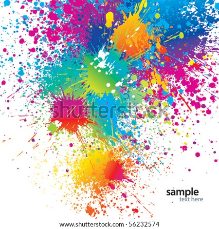 Background with colorful spots and sprays on a white. Vector illustration. - stock vector
