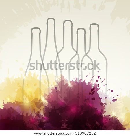 Background with colorful spots and wine. Illustration of wine bottles. Expressive design background. vector