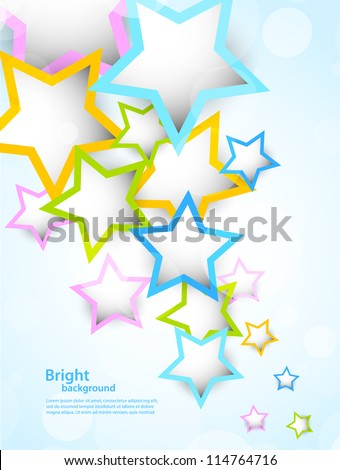 Background with colorful stars - stock vector