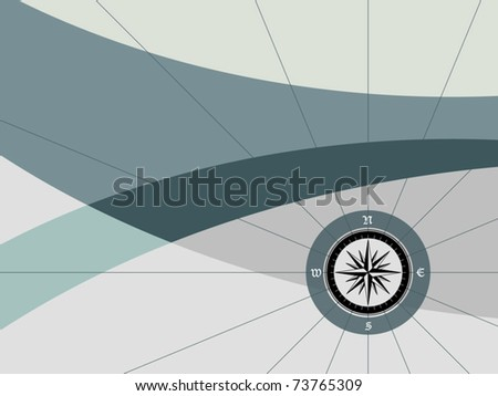 Background with compass - stock vector