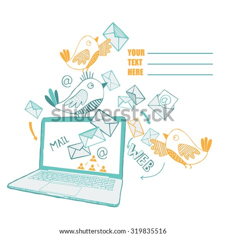 Background with computer, e-mail and cute birds. - stock vector