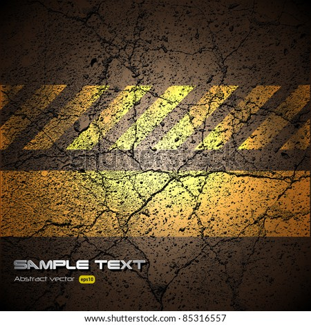 background with cracked road texture, vector. - stock vector