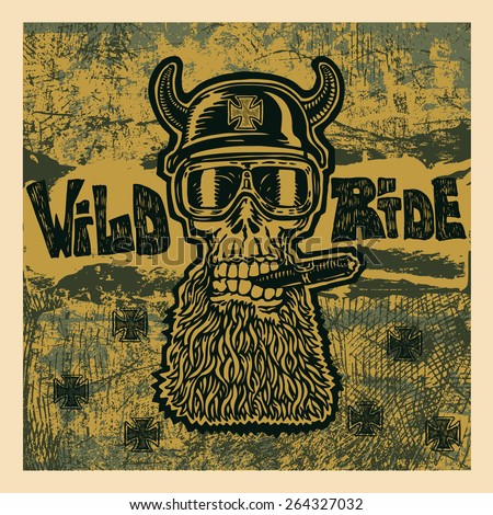 background with crazy skull motorcycle glasses, helmet with horns and grunge textures. biker symbol. vector illustration. - stock vector