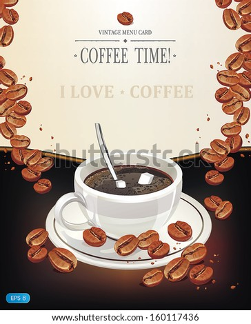 Background with cup of coffee and old paper. Vector illustration