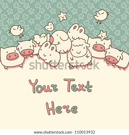 Background with cute cartoon animals - stock vector