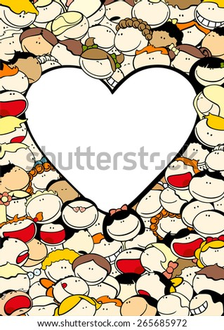 Background with cute kids and a heart-shaped window for your text - stock vector