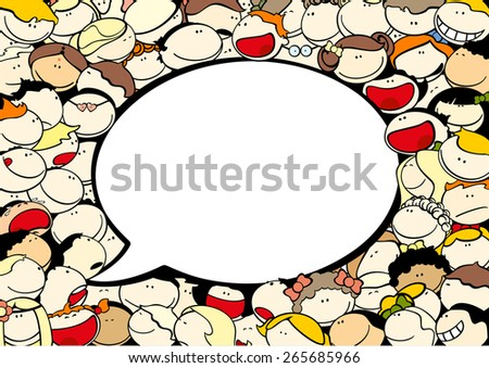 Background with cute kids and speech bubble window for your text - stock vector