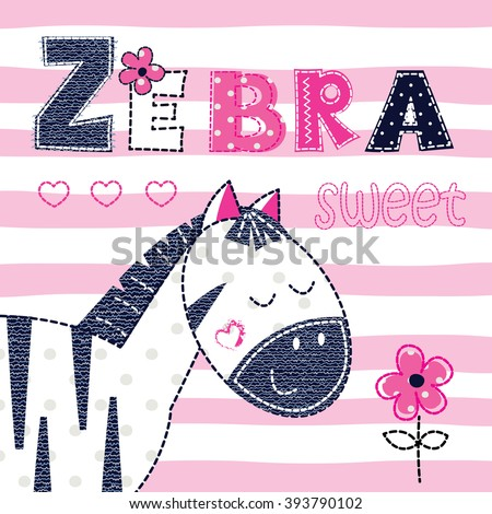 Background with cute zebra with floral elements and lettering for t-shirt design, baby shower, greeting card - stock vector