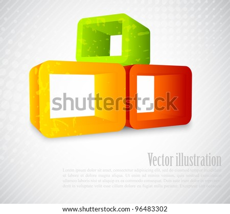 Background with 3d element - stock vector