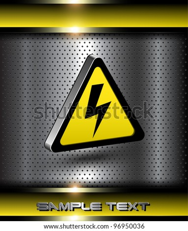Background with 3d high voltage danger icon. - stock vector
