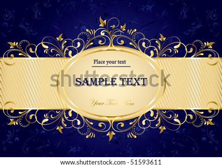 Background with decorative golden template, illustration - stock vector