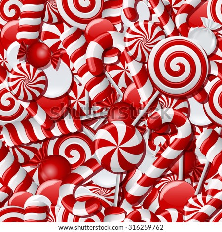 Background with different red and white candies. Seamless pattern. Vector illustration - stock vector