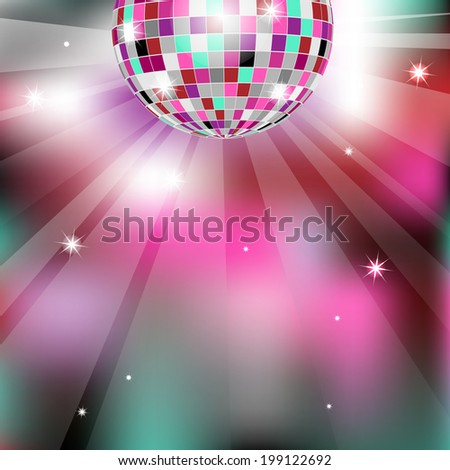 Background with disco ball, eps10 - stock vector